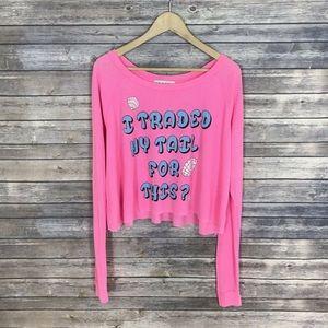 Wildfox Small T Shirt Crop Mermaid Shell Pink NWT